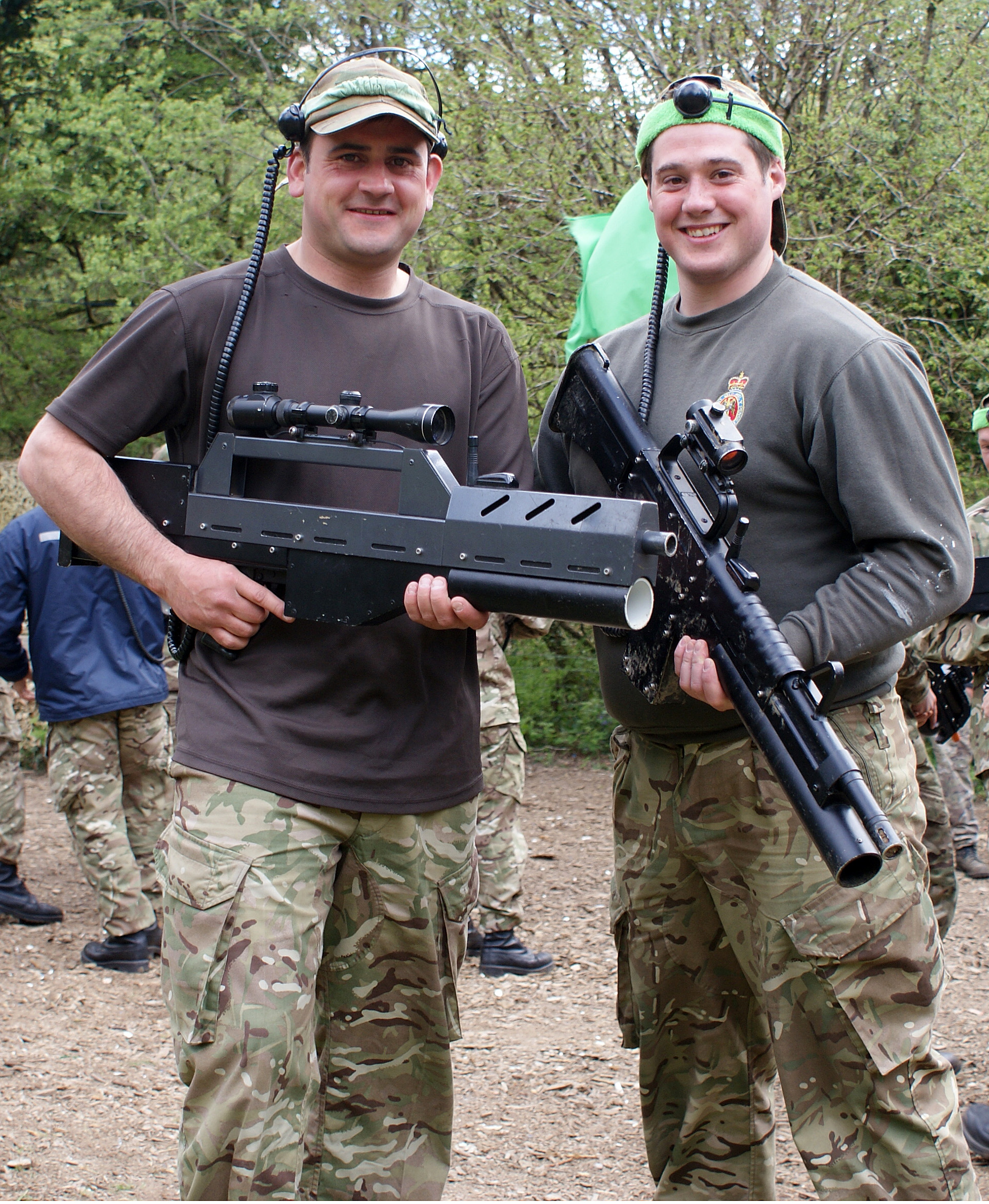 Members of The Household Cavalry Mounted Regiment enjoying laser combat at Battlefield Live in Pembrokeshire